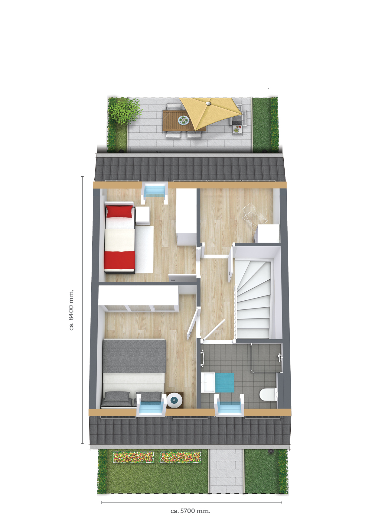Fijn Wonen type 101 5700 plattegrond eerste verdieping